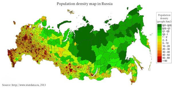 Population density map in Russia.